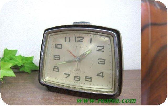 セイコー SEIKO 木目 ゼンマイ めざまし時計 u(目覚時計アラーム〓昭和レトロ雑貨