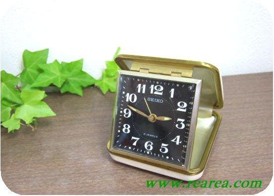 完売■ セイコー SEIKO 折り畳み式 トラベル ゼンマイ めざまし時計 u(目覚時計アラーム旅行手巻き式〓昭和レトロ…