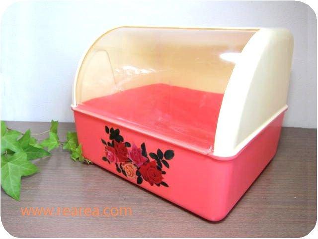 キッチンケース 花柄バラ 横30センチ プラスチック製スライド蓋付 u  (保存容器ボックス*昭和レトロ雑貨