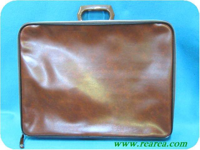 完売■ブラウン合皮 ガーメントケーストランク (スーツバッグかばん〓昭和レトロ雑貨デザイン