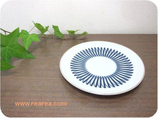 レトロライン幾何学柄  陶器プレート 17.5センチ (ストーンウェア小皿*昭和レトロ食器