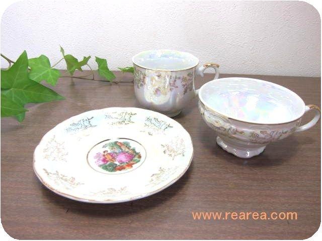 パール  コーヒーカップ&ティカップ・ソーサー3点セット(陶器*昭和レトロ食器