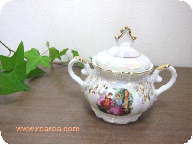 完売■パール  シュガーポット キャンディーポット (陶器*昭和レトロ食器