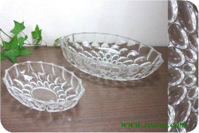 完売■ HOYAクリスタル ドットレリーフ ガラスボウル2枚 (水玉鉢皿〓昭和レトロ雑貨デザイン