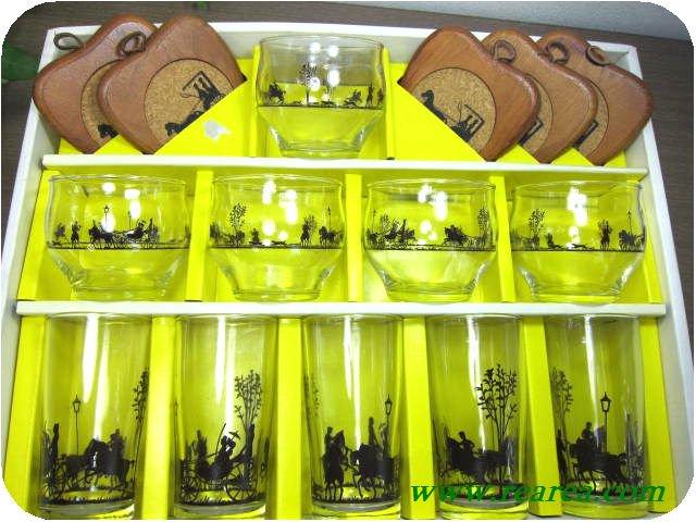 Lend★ 馬車柄 タンブラー5客&冷茶グラス5客&コースター5枚セット (カメイガラス貴族〓昭和レトロ 帝一