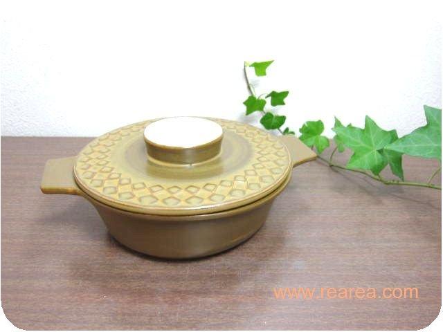 完売■レトロな陶器製 小鍋 0.6L 直火 ブラウン 幾何学模様 (ひとり用鍋*昭和レトロ雑貨
