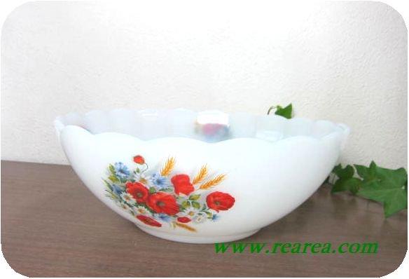 完売■フランス製arcopalアルコパル ミルクガラス ボウル23cm 花柄(耐熱ガラス〓昭和レトロ西欧雑貨デザ…