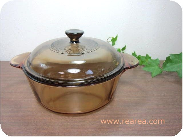 完売■ USA製 VISION  ガラス製両手鍋  PYREX 1.25L (ビジョンソースパン*昭和レトロ雑貨