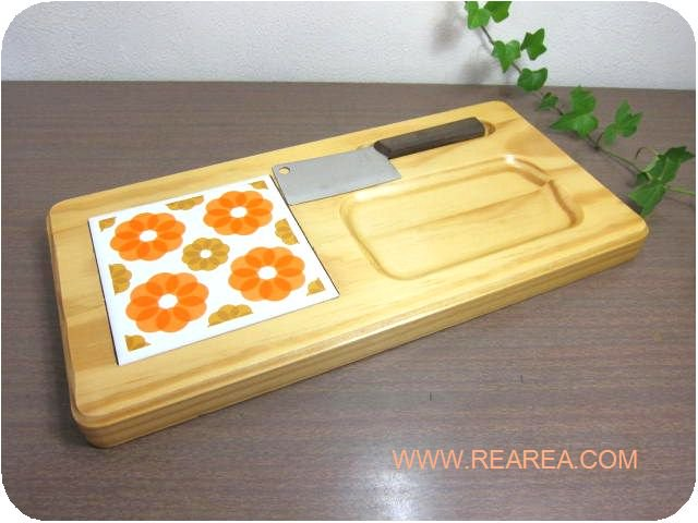 レトロ花柄 木製鍋敷きトリペット 33×16.5センチ チーズナイフセット(幾何学柄*昭和レトロ雑貨キッチ…