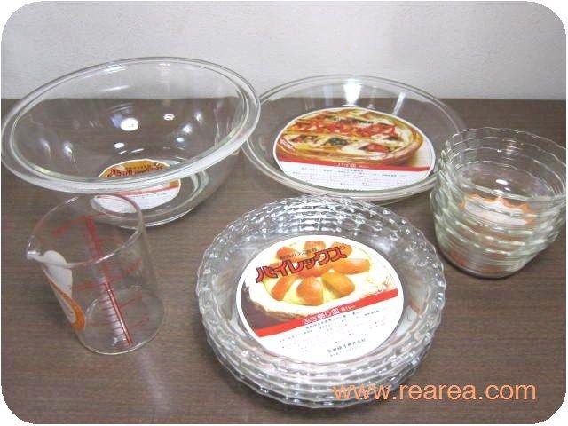 PYREX 耐熱ガラス調理食器セット パイ皿グラタン皿計量カップ(パイレックス*昭和レトロ