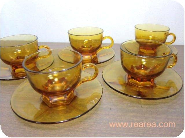 アデリア ガラス製カップ&ソーサー 5客 コーヒーカップ (ティ-セットアンバー*昭和レトロ雑貨