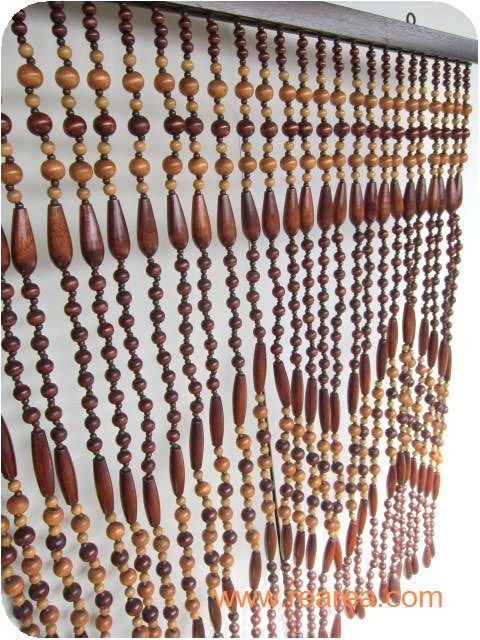 完売■昭和レトロ 木製のれん民芸風 じゃらじゃら  縦86×横85センチ(珠のれん暖簾ビーズ*レトロ雑貨インテリ…