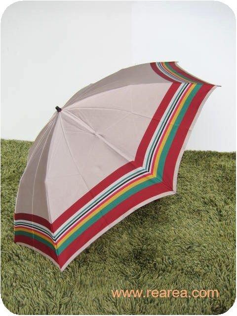 完売■ レトロな折りたたみ傘 ベージュ×カラフルライン 雨具  y  ( アンブレラ カサ かさ*昭和レトロ…