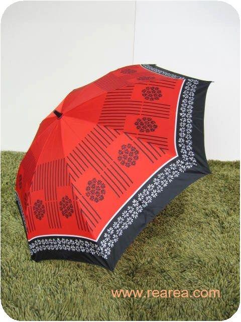 レトロな折りたたみ傘 レッド×ブラック 花柄 雨具  ( アンブレラ カサ かさ*昭和レトロ雑貨