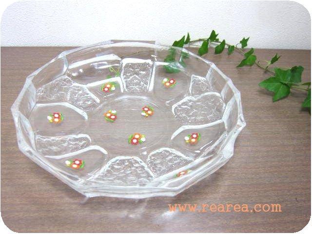 大きなガラスプレート花柄 34.5センチ クリア(大皿サラダプレート*昭和レトロ食器