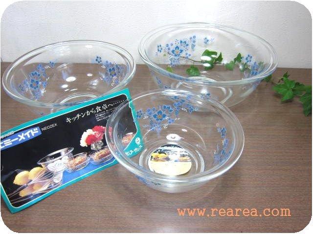 サンコーウェア エミーメイド 耐熱ガラス調理ボウル3点セット(花柄NEOZEX*昭和レトロ雑貨食器