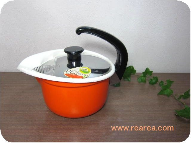 完売■ エナポットポリー 片手鍋1.3L オレンジホーロー製 y (やかん小鍋*昭和レトロ雑貨キッチン