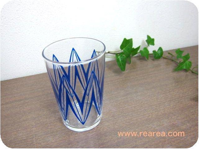 レトロなかわいいグラス ブルー 小 高9.3センチ(幾何学柄タンブラーコップ*昭和レトロ雑貨ガラス
