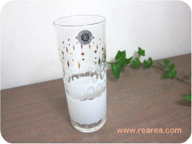 ササキガラス かわいいグラスホワイトゴールド  高14.5センチ(幾何学柄タンブラーコップ*昭和レトロ雑貨