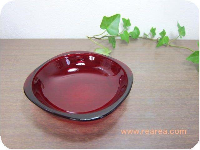 カガミクリスタル カラープレート12センチ レッド (小皿取り皿Gマーク*昭和レトロ食器