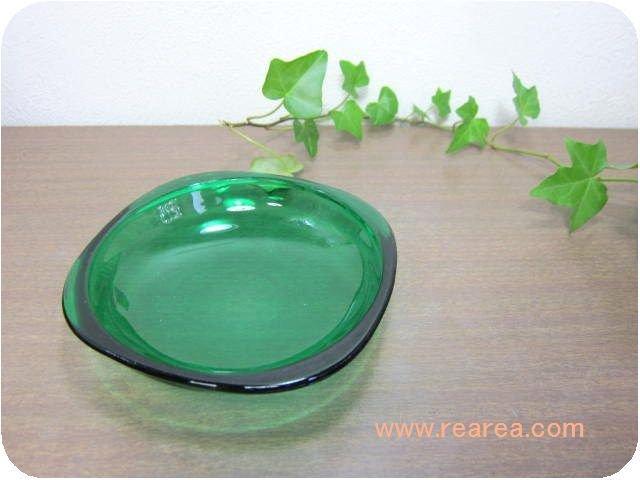 カガミクリスタル カラープレート12センチ グリーン(小皿取り皿Gマーク*昭和レトロ食器