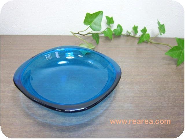 カガミクリスタル カラープレート12センチ ブルー(小皿取り皿Gマーク*昭和レトロ食器