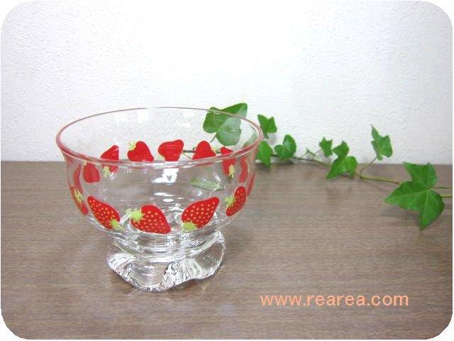 TOYO東洋ガラス かわいいイチゴ柄アイスクリームカップ (いちご苺ストロベリー*昭和レトロ