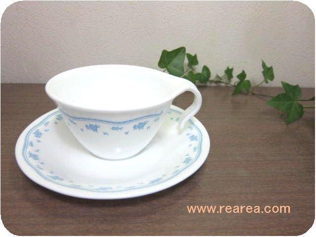 アメリカ製 コレールCOLLERE  カップ&ソーサー小花柄ブルー(コーニングウェア*昭和レトロ