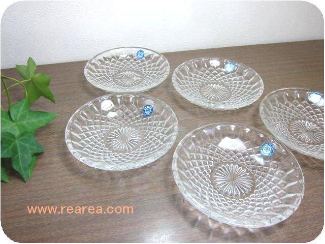 SASAKI GLASS ガラスプレート13センチ5枚セット(中皿ハンドクラフト*昭和レトロ雑貨