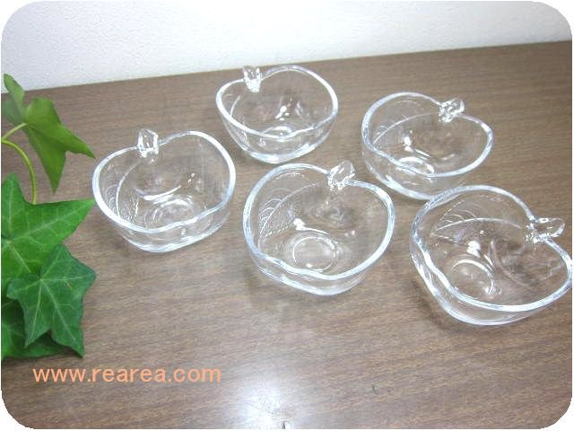 SOGAりんごナッツボール5客セット 8センチ クリア(林檎リンゴ曽我ガラス小鉢*昭和レトロ雑貨