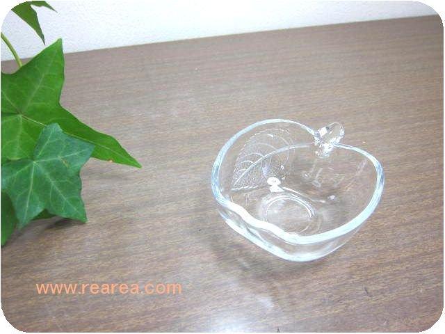 SOGAりんごナッツボール 8センチ クリア(林檎リンゴ曽我ガラス小鉢*昭和レトロ雑貨