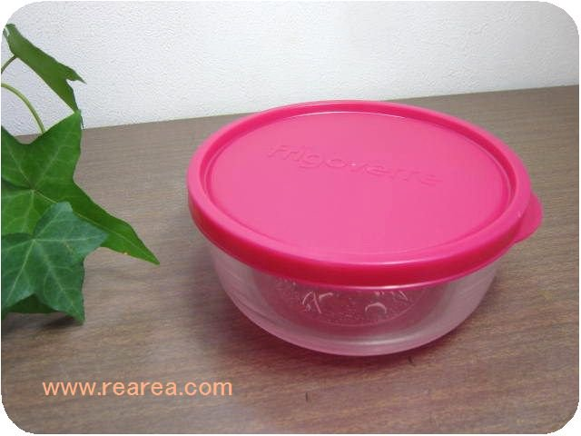 SOGAガラス保存容器 約800ml クリア×ピンク(曽我ガラス*昭和レトロ雑貨