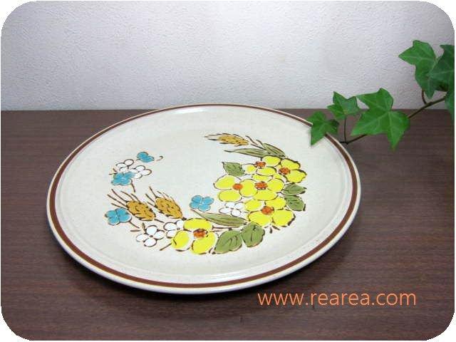 完売■ STONE WARE 陶器プレート 中 花柄 27センチ(中皿*昭和レトロ食器