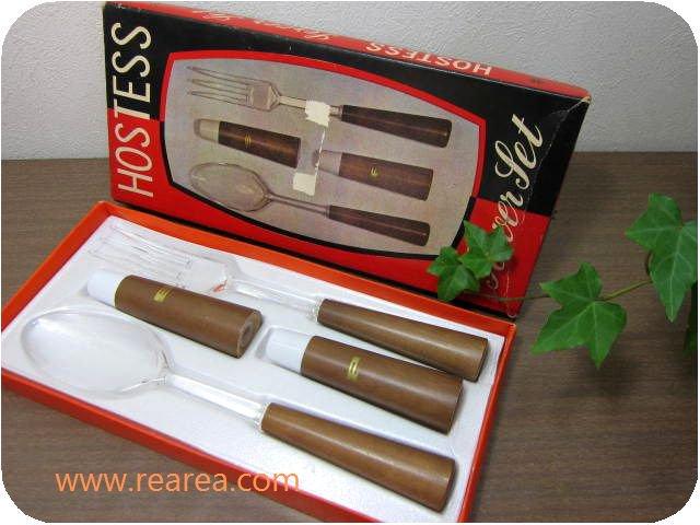 HOSTESSサラダスプーン&フォーク ペッパー&ソルト容器セット 陶器製・木製(テーブルウェア*昭和レトロ