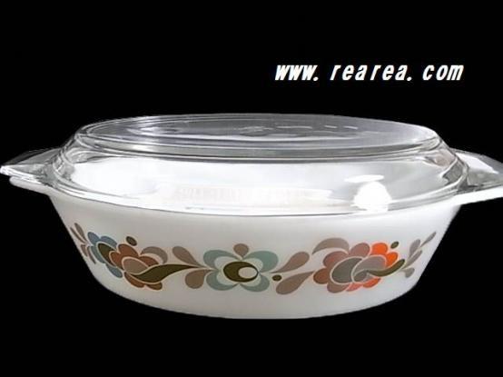 完売■ JAJ社(パイレックス) 花柄 耐熱鍋 キャセロール