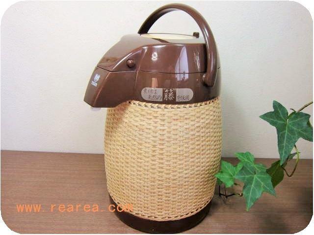天然籐編み タイガー PNJ-2200 籐エアーポット 2.2L used(保温魔法瓶*デザイン昭和レトロ雑貨キッチン