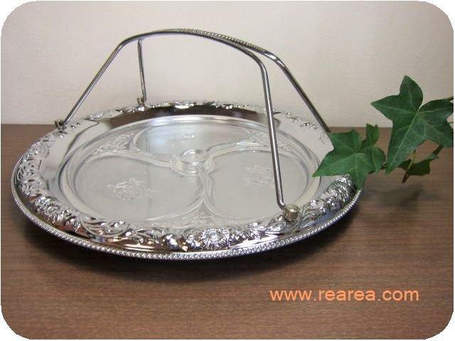 オードブルトレー ステンレス製 丸盆 35センチ y(大皿かごトレイ*昭和レトロ雑貨キッチン