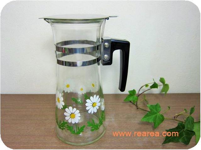 完売■アデリアガラス ウォーターピッチャー ガラス製 コスモス花柄(水差し*昭和レトロ食器