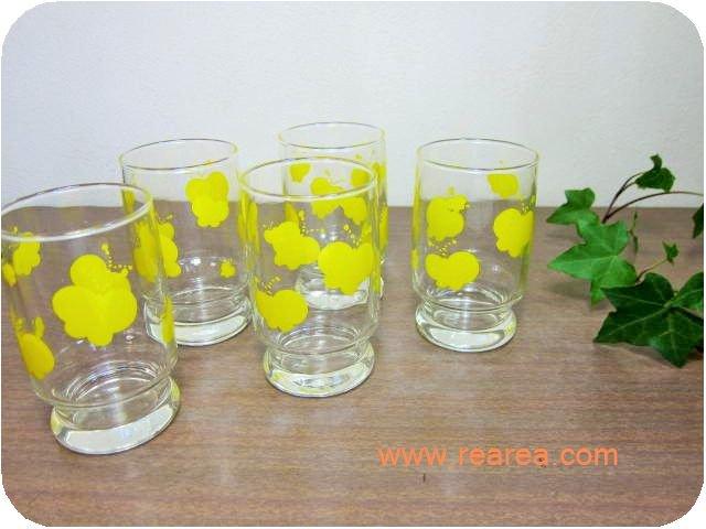 完売■ササキグラス 蝶々ちょうちょ柄 花柄タンブラー5客セット(グラスコップ*昭和レトロ食器
