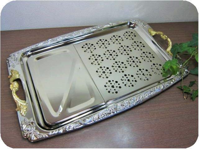 2重ステンレス製オードブルトレー 大 46×30センチ(プレートトレイお盆*昭和レトロ雑貨キッチン