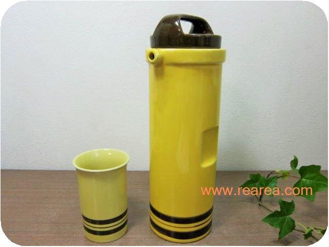 陶器ウォーターボトル1.0L & 陶器タンブラー  (水差しピッチャーセット*昭和レトロ雑貨キッチン