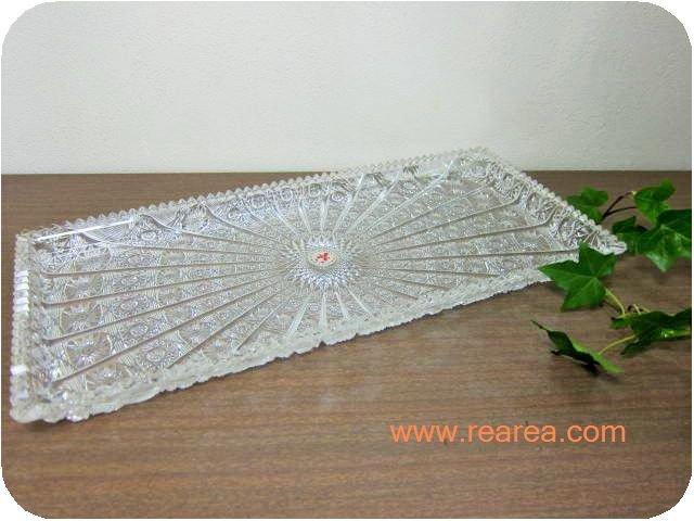 ROMAN CUT プラスチックトレー 40×18.5センチ クリア(トレイお盆*昭和レトロキッチン
