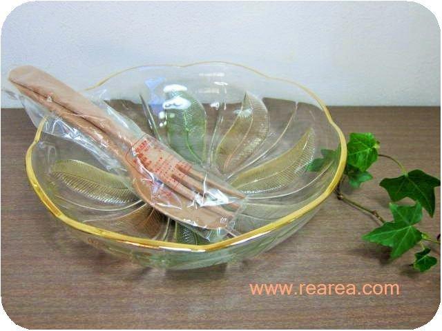 曽我ガラス 羽ねぐるま サラダボウル25㎝&木製スプ-ン・フォーク(大鉢*昭和レトロ雑貨