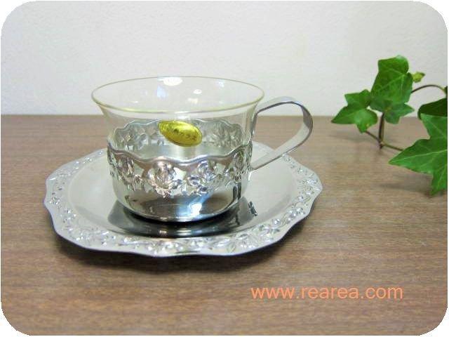 レトロなガラス×ステンレス製 カップ&ソーサー (シルバー クラシック*昭和レトロ雑貨