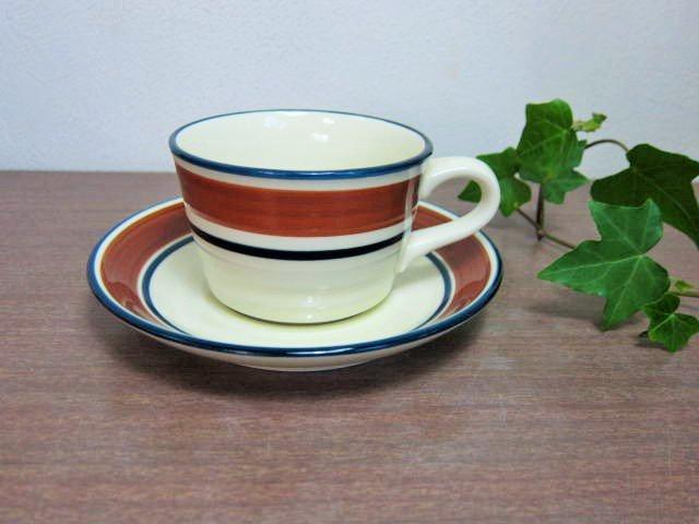 sangoカップ&ソーサー陶器製  ブラウンライン (サンゴーコーヒーカップストーンウェア*昭和レトロ雑貨