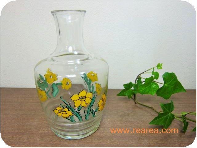 アデリア ガラス製水差し 花柄0.8L 花瓶フラワーベース (一輪挿し ウォーターポット*昭和レトロ雑貨