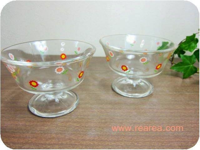 小花柄 かわいいアイスクリームカップ ペア ガラス製(サンデーカップ*昭和レトロ雑貨食器