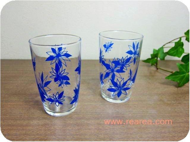 ササキグラス レトロ花柄ブルー ペアグラス 9.8センチ(かわいいタンブラーコップセット*昭和レトロ雑貨キッ…