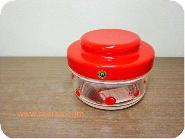 ブルーム チェリー柄 レッド×クリア プラスチック製ポット 480ml(保存容器ケース*昭和レトロ雑貨