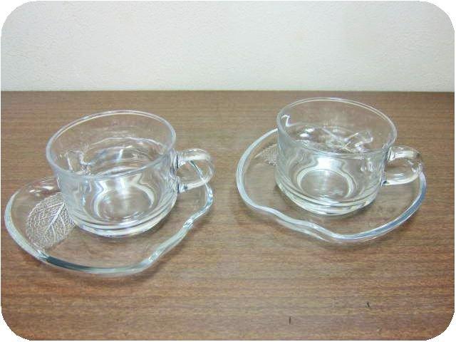 曽我ガラス りんご型カップ&ソーサー2客セット クリア 耐熱ガラス(アップル*昭和レトロ雑貨